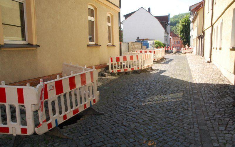 Baumaßnahme Thüringer Netze in der Hospitalstraße, Obere Marktstraße, Bahnhofstraße