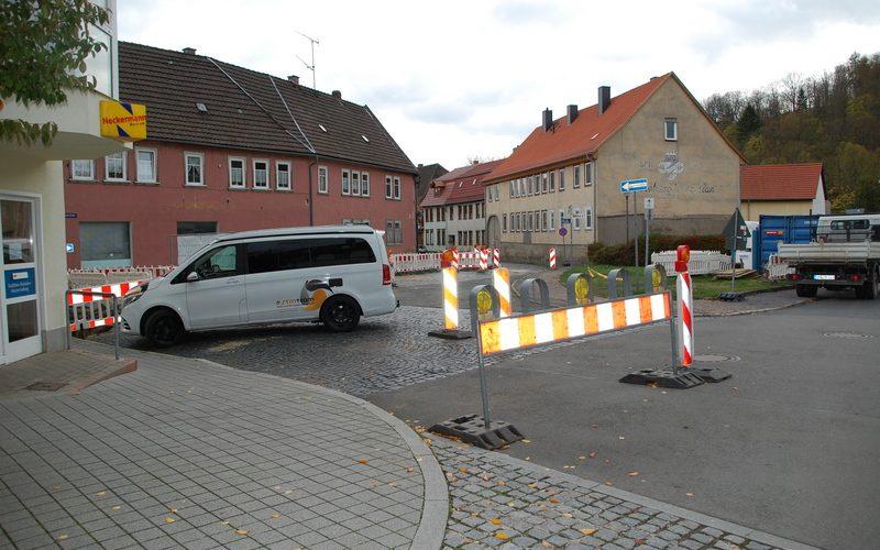Baumaßnahme der TEAG – Verkabelung Obere Marktstraße/ Lindenstraße