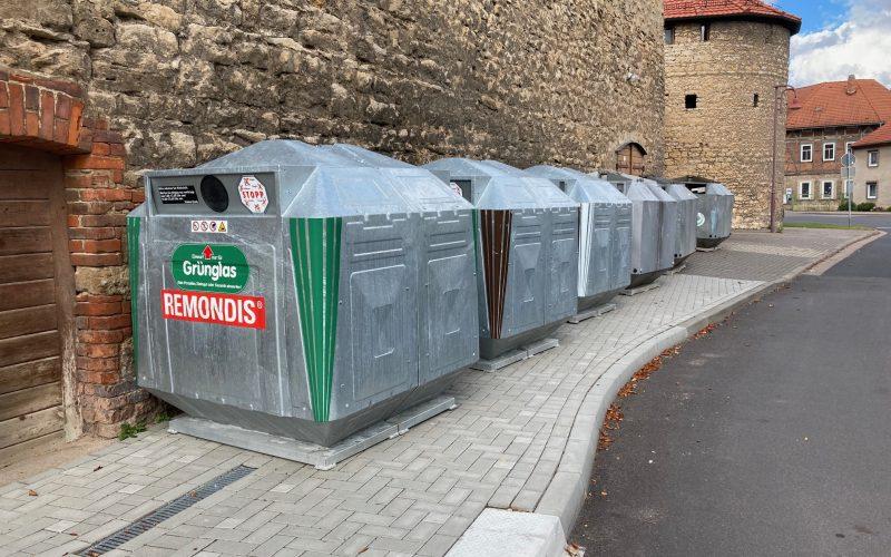 Neuer Containerstandplatz am Bärsaal während der Baumaßnahme in der Teichgartenstraße